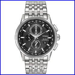 Citizen Eco-Drive Men's World Time Black Dial Silver-Tone 43mm Watch AT8110-53E