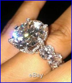 Cocktail Party Ring Solid 925 Sterling Silver Cz High End Luxury Handmade Jewel