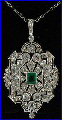 Cocktail Party Solid 925 Sterling Silver Green Cushion Vintage Pendant Jewelry
