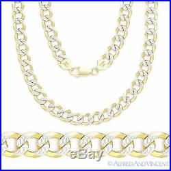 Cuban Curb Sterling Silver 14k Yellow Gold Men's 5mm Link Chain Necklace Italy