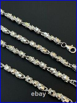 Custom Handmade Solid 925 Sterling Silver Nugget Link Chain Necklace 5mm 18-30