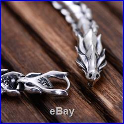 Custom Mens 925 Solid Silver Heavy Thick Dragon Scale Chain Biker Bracelet