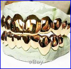 Custom Sterling Silver 14kt Gold Plated Solid 10 Top or Bottom Grillz Grill