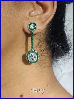 Dangle Earrings Solid 925 Sterling Silver OEC cut cz High end Statement Jewelry
