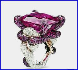 Dark Pink Vintage Style Cushion & CZ Solid 925 Sterling Silver Beautiful Ring