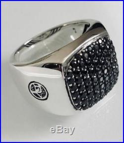 David Yurman Solid 925 Sterling Silver Black Round Cut Diamond Signet Men's Ring