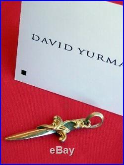 David Yurman Sterling Silver 18K SOLID GOLD Waves Dagger Amulet Pendant