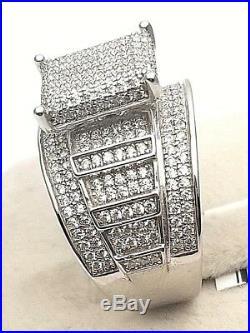 Designer Women's Genuine Solid 925 Sterling Silver 4 Ct Cubic Cz Big Wide Ring