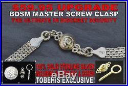 Discreet Solid 925 Sterling Silver Neck Cuff Locking BDSM Slave Day Collar & Loc