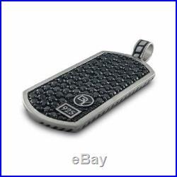Dog Tag Black Diamond Studded Pendant Solid 925 Sterling Silver David Yurman