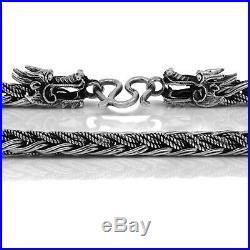 Dragon 925 Solid Sterling Silver Necklace Rope Chain Men Size 18 20 22 24 26 28