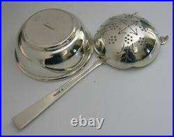 ENGLISH SOLID STERLING SILVER TEA STRAINER & DRIP BOWL STAND 1962 89g
