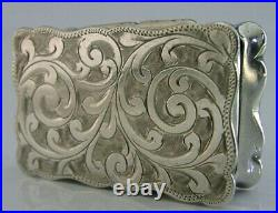 Edwardian English Solid Sterling Silver Snuff Snuff Pill Box 1904 Antique