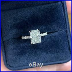 Emerald Cut Diamond Engagement & Wedding Ring Solid 14K White Gold Over 2.30 CT