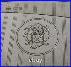 English Art Deco Solid Sterling Silver Card Case 1929 Antique