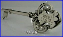 English Solid Sterling Silver Myroe Ireland Presentation Key 1925 Antique