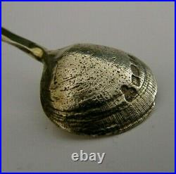 English Solid Sterling Silver Salt Cellar & Shell Spoon 2002 Arts & Crafts