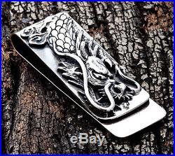 Engraved Dragon Solid 925 Sterling Silver Money Clip Bill Holder New Mens