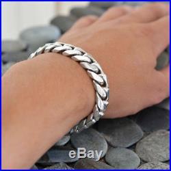 Estate Heavy Solid 925 Sterling Silver 85 Grams 8.5 14mm Curb Men's Bracelet