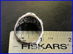 FIERY Reds Solid Australian Black Opal Mens ring 13 Sterling silver Signet Cab Z