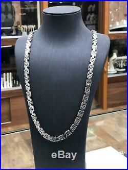 FLAT BYZANTINE Necklace 925 SOLID Sterling Silver HEAVY Mens 30 6mm BRAND NEW