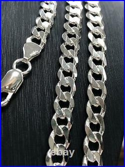 Flat Curb Chain Solid 925 Sterling Silver Mens Bracelet Italian Style HEAVY NEW