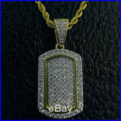 Flooded Dog Tag Pendant Charm 2.10 Ct Round Diamond Solid 10K Yellow Gold Over