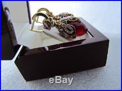 Garnet Earrings Handmade Russian Solid Sterling Silver 925 24 K Gold Plated
