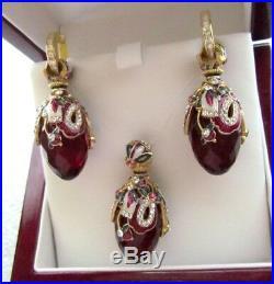 Garnet Earrings & Pendant Set Handmade Russian Solid Sterling Silver 925