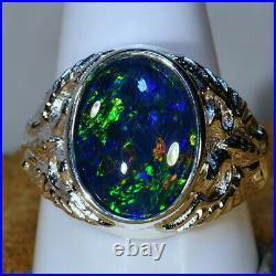 Genuine Australia Opal Big Heavy Mans Solid 925 Sterling Silver Ring 16112