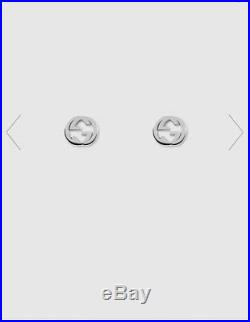 Genuine Gucci Interlocking G Solid Sterling Silver Stud Earrings