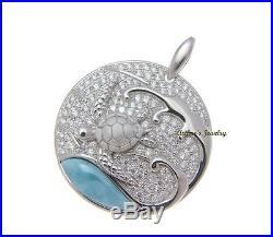 Genuine Natural Larimar Hawaiian Sea Turtle Cz Pendant Solid 925 Sterling Silver