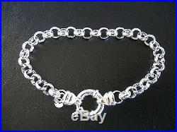 Genuine Solid 925 Sterling Silver Round Belcher Ladies Bracelet Euro Bolt Ring