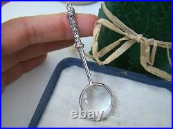 Gorgeous 925 Solid Sterling Silver Magnifying Magnifier Glass Chatelaine Pendant
