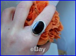 Gorgeous Large Solid 925 Sterling Silver Onyx Locket Pill Poison Ring Size Q 8