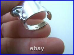 Gorgeous Solid Sterling Silver Full Finger Armour Orb Ring Goth Biker Adjustable
