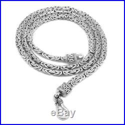 HEAVY 3mm Solid 925 Sterling Silver BYZANTINE Oval Chain Necklace 18-20-24-30-36