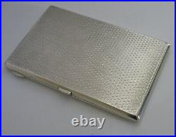 HEAVY ENGLISH SOLID STERLING SILVER ART DECO CIGARETTE CASE 1930 ANTIQUE 192g