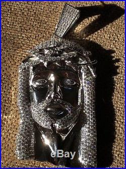 HUGE 3 Jesus Pendant Piece Solid 925 Sterling Silver 3ct Lab Diamonds 40 Grams
