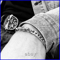Hallmarked Solid 925 Sterling Silver Skull Cobra Flat Cuban Link Bracelet