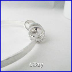 Handmade Hammer Finish Solid Sterling Silver Rings Personalised Charm Bangle