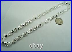 Handmade Rope Chain Necklace 925 Solid Sterling Silver Men's 9mm size 20-30