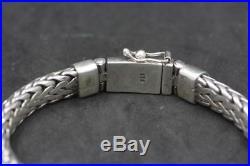 Handmade Solid Sterling Silver. 925 Bali Tulang Naga Weave Large 8 mm Bracelet