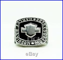 Harley Davidson Solid 925 Sterling silver biker rider Mens boy ring Gift