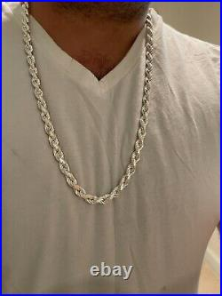 Heavy 8mm Men's Rope Chain Real Solid 925 Sterling Silver Necklace 18-30 ITALY