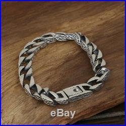 Heavy Men's Solid 925 Sterling Silver Bracelet Link Chain Loop Stripe Jewelry