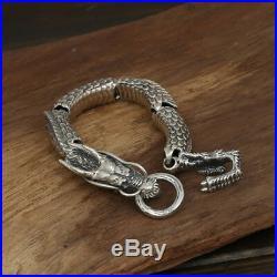 Heavy Men's Solid 925 Sterling Silver Bracelet Link Dragon Chain Jewelry 8.3