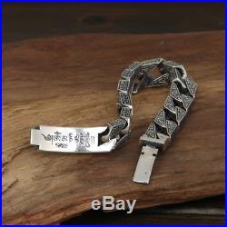 Heavy Men's Solid 925 Sterling Silver Bracelet Vajra Link Chain Lection Jewelry