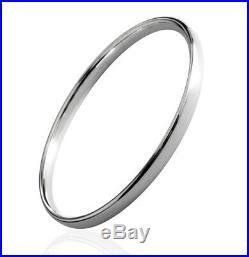 Heavy Slave 5 mm Flat BANGLE Bracelet 925 Sterling Silver Solid British Hallmark