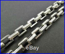 Heavy Solid 925 Sterling Silver Linked Rectangle 22 24 Chain Mens Necklace